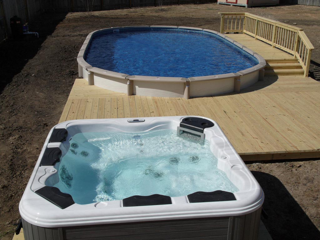Above Ground Pool And Hot Tub Combo Backyard Design Ideas