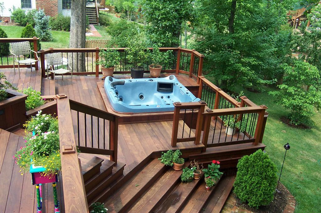 Deck design hot tub backyard design ideas for Spa deck design