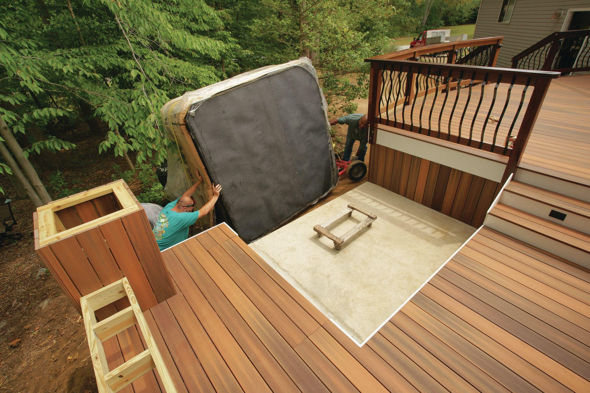 Pros of building a hot tub deck backyard design ideas for Above ground pool decks with hot tub