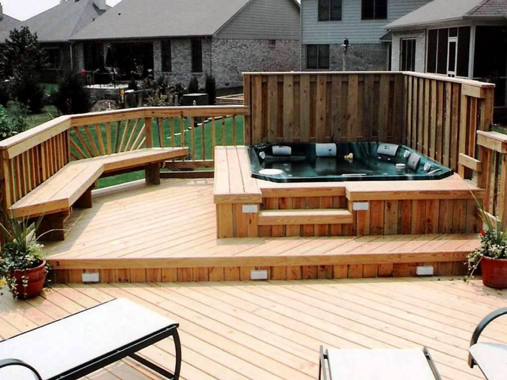 Pros of building a hot tub deck backyard design ideas for Wood pool deck design