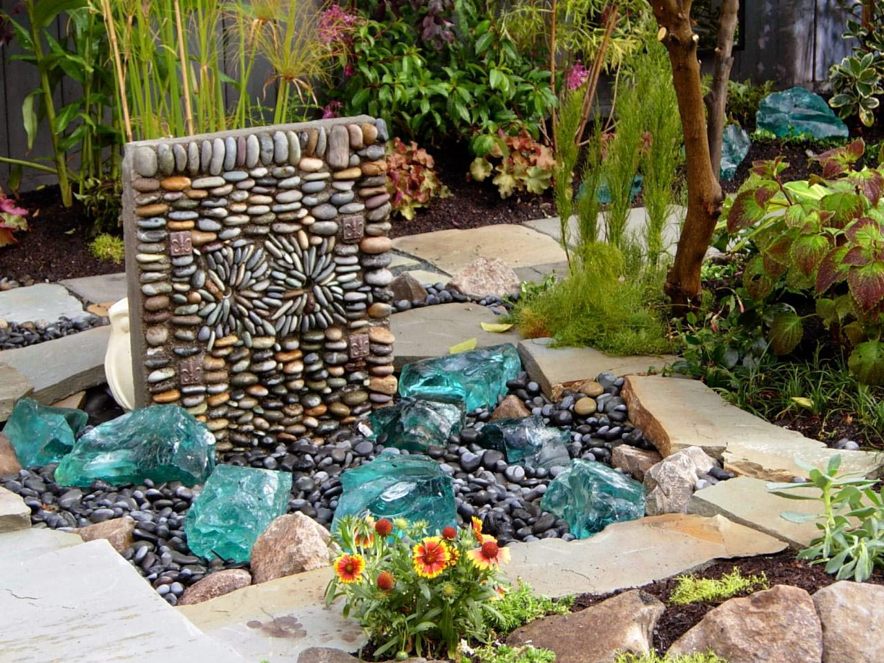 Outdoor concrete paint patio wall ideas outdoor free Diy wall water feature