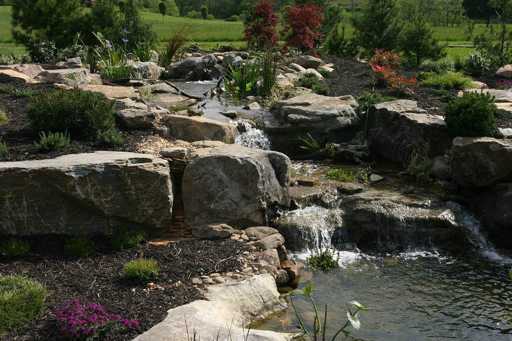 Garden Pond Waterfall Construction