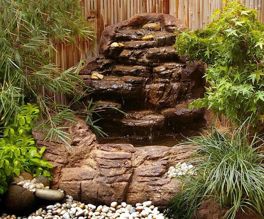 Garden pond waterfall kits backyard design ideas Small waterfall kit