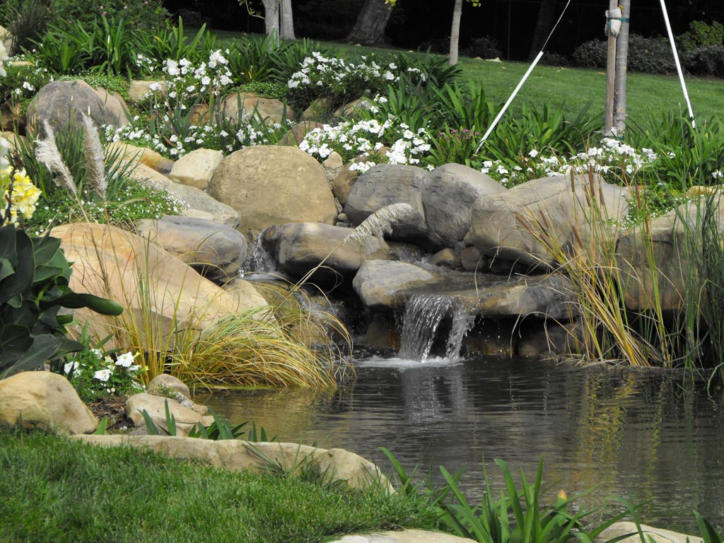 Garden Pond With Waterfall Backyard Design Ideas