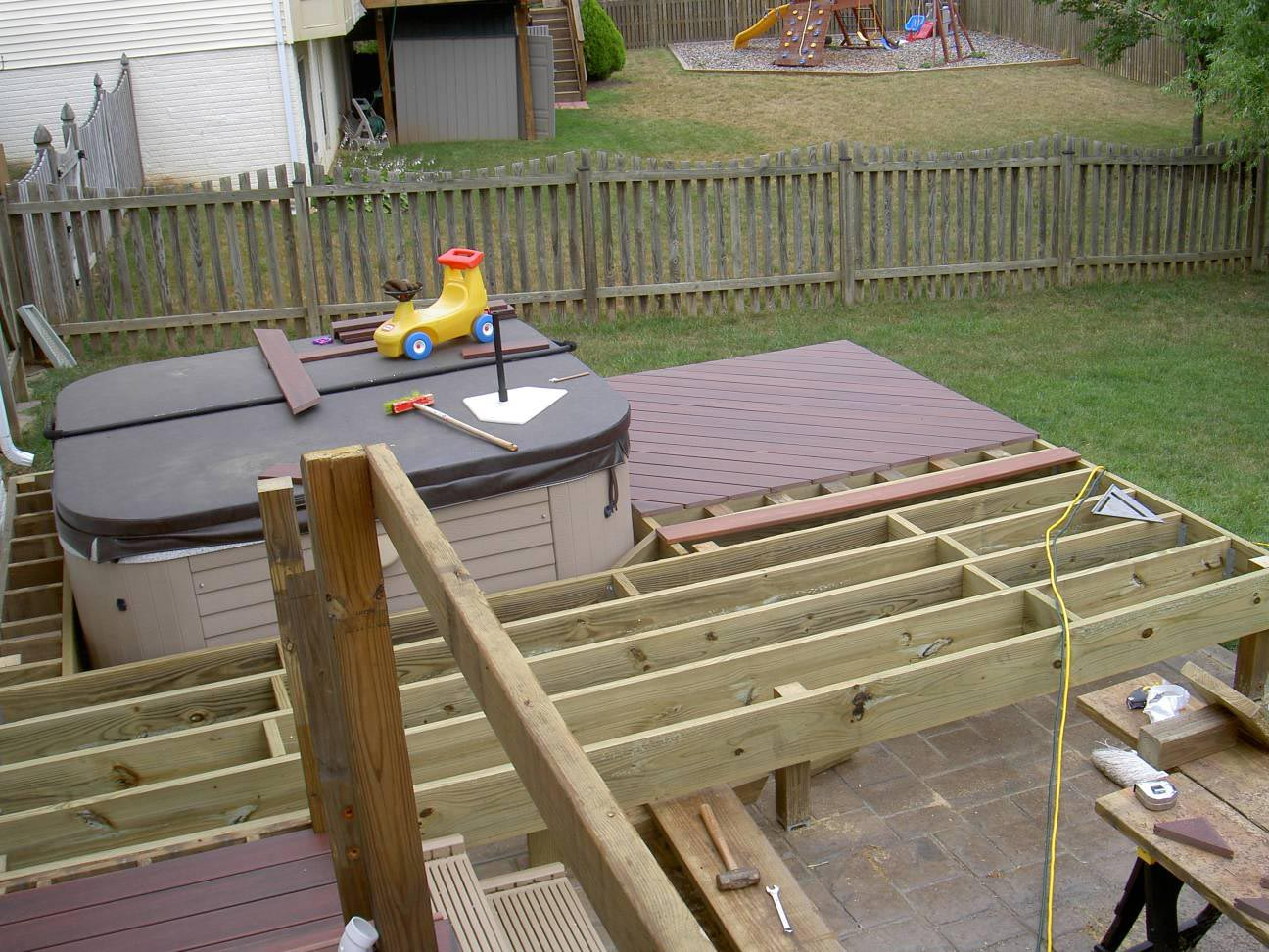 In deck hot tub backyard design ideas for Hot tub deck designs plans