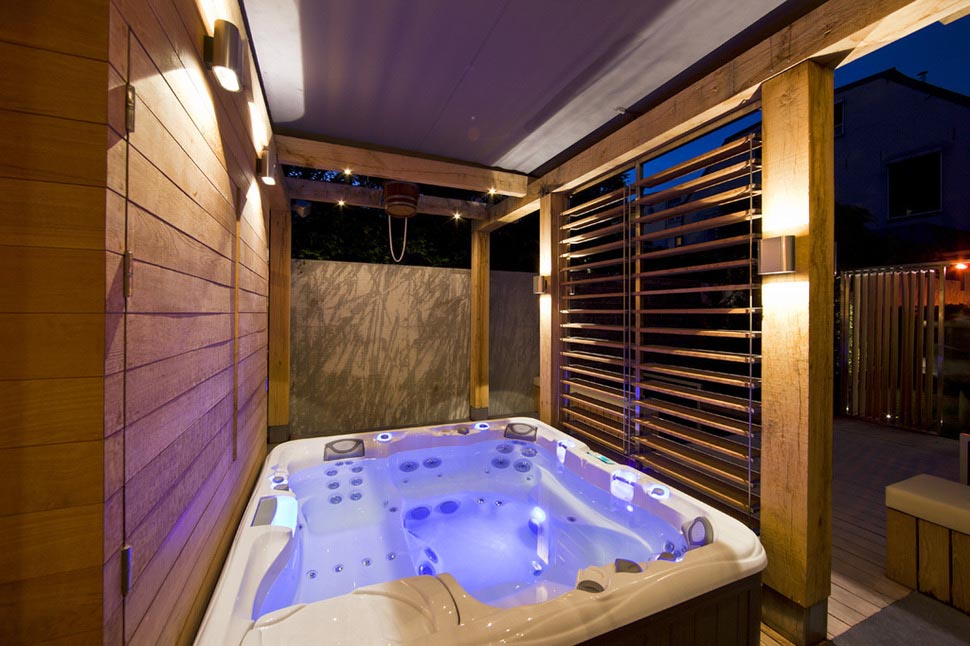 Indoor Outdoor Hot Tub Backyard Design Ideas