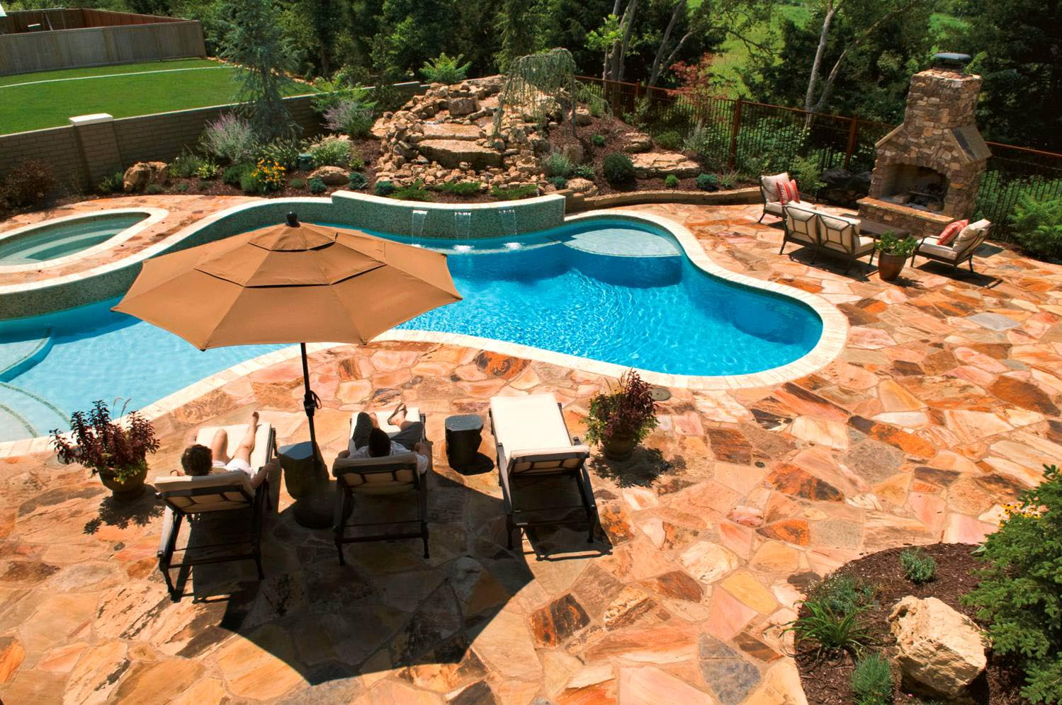 Inground pool deck which to choose backyard design ideas for In ground pool backyard ideas