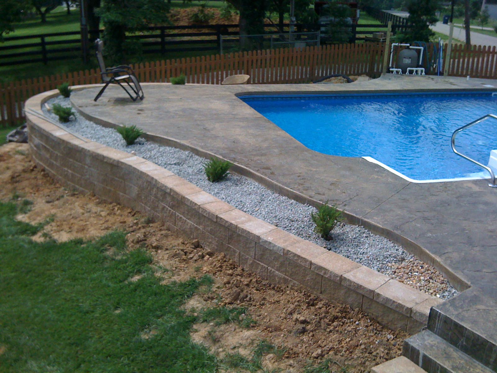 Inground pool deck which to choose backyard design ideas for Pool design sloped yard