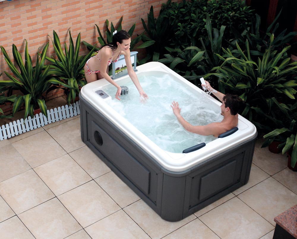 outdoor hot tub spa backyard design ideas. Black Bedroom Furniture Sets. Home Design Ideas