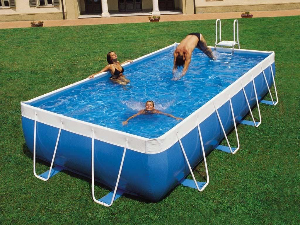 Portable above ground swimming pools backyard design ideas for Cheap deep pools