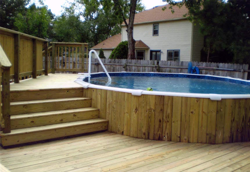 Semi inground pool deck ideas backyard design ideas for In ground pool deck ideas