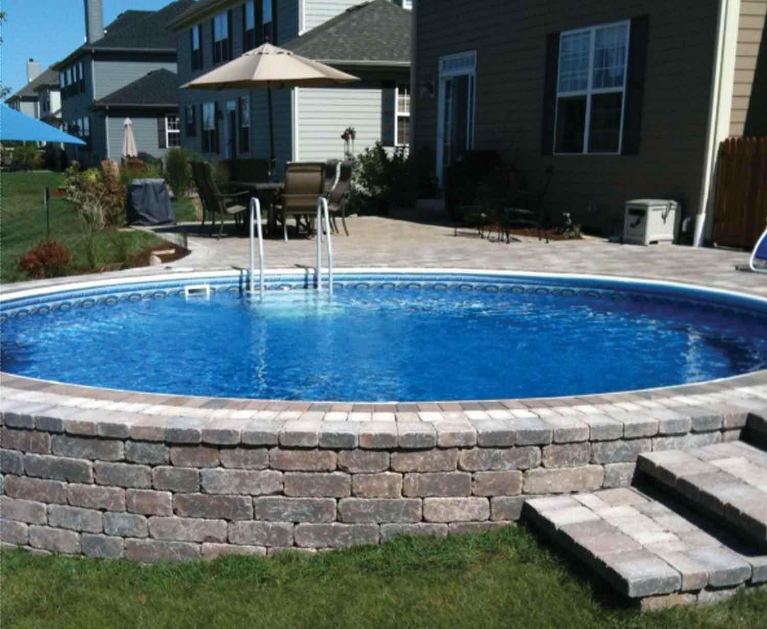 Semi Inground Pool Decks Backyard Design Ideas