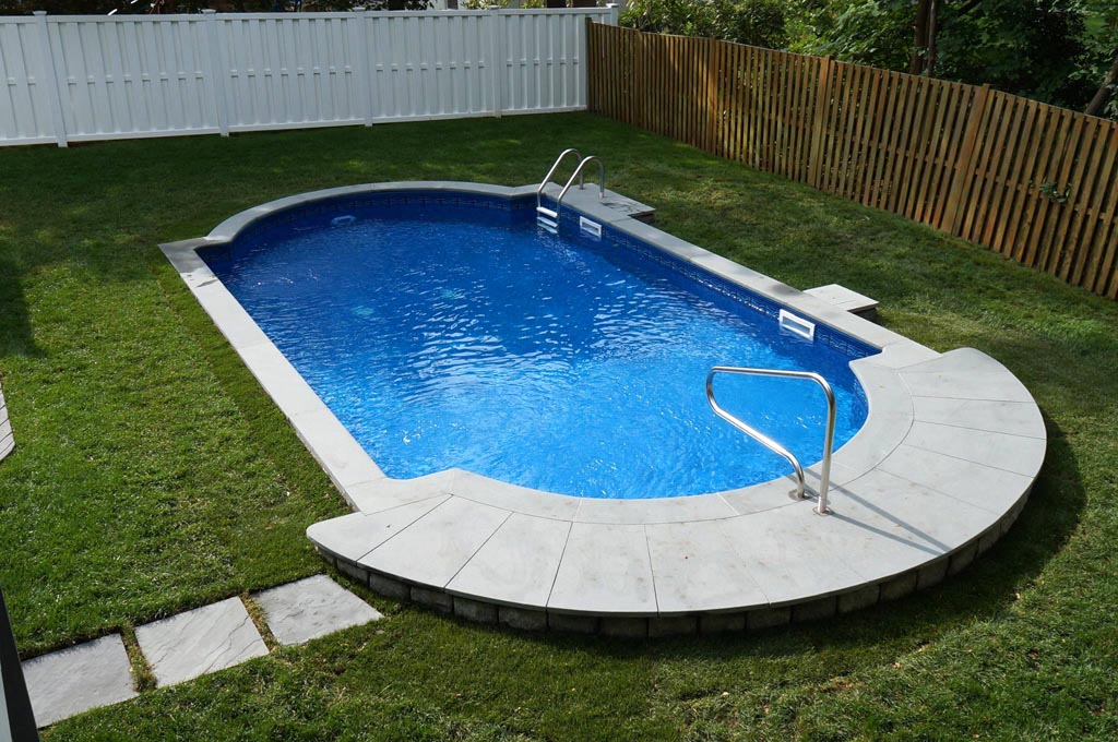 Ideas and benefits of a semi inground pool backyard for In ground pool deck ideas