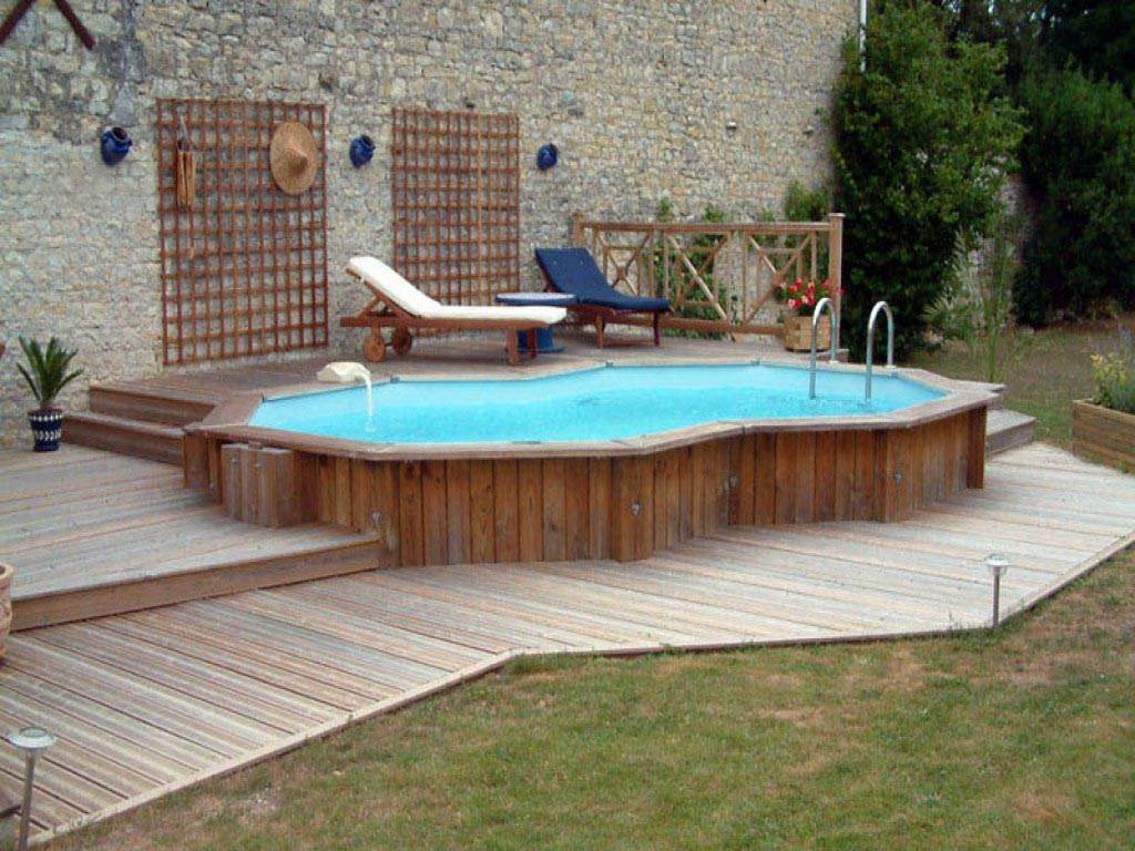 Semi inground swimming pool kits backyard design ideas for Above ground pool setup ideas