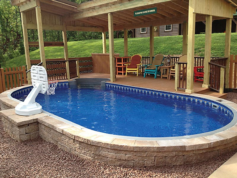 Semi inground swimming pool backyard design ideas for In ground pool ideas