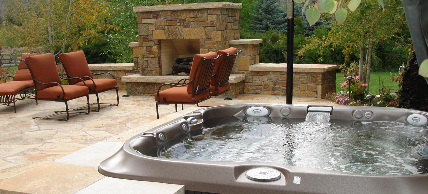 Spa With Outdoor Hot Tub Backyard Design Ideas