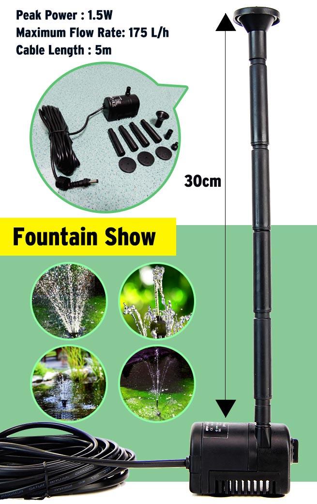 5 Head Solar Pump Garden Fountain Pond Water Feature