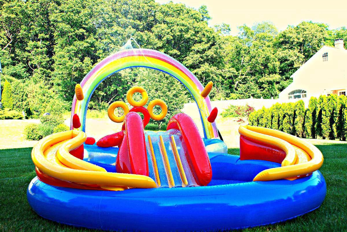 backyard inflatable pool slide - House Pools With Slides