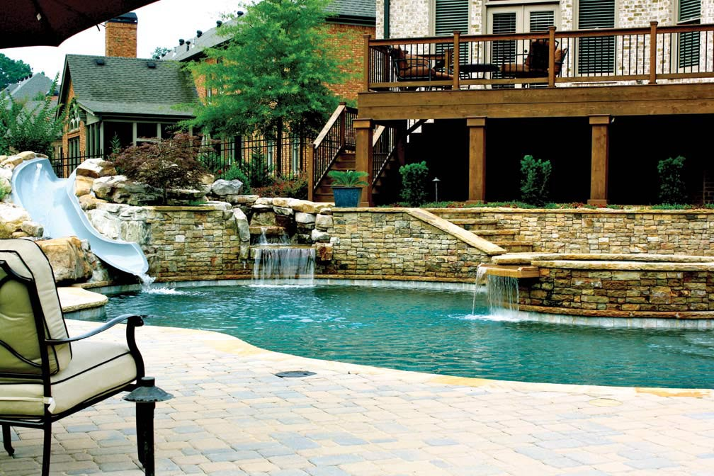 Backyard pools with slides backyard design ideas for Pool design with slide