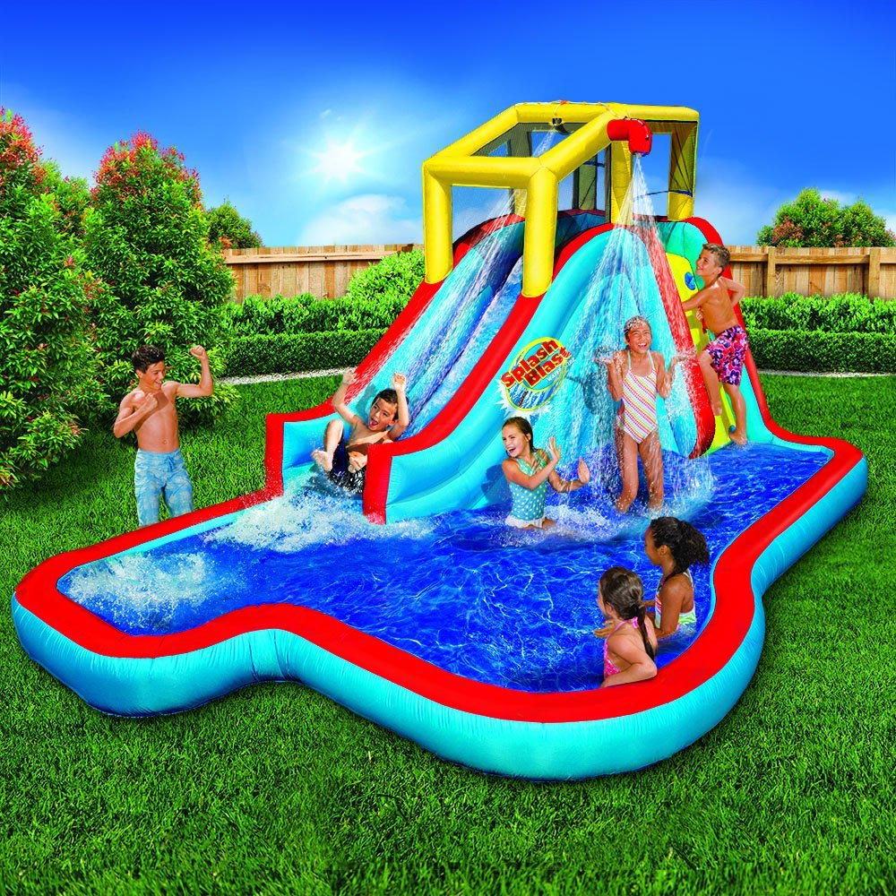 Banzai splash blast lagoon inflatable outdoor water slide for Pool design with slide