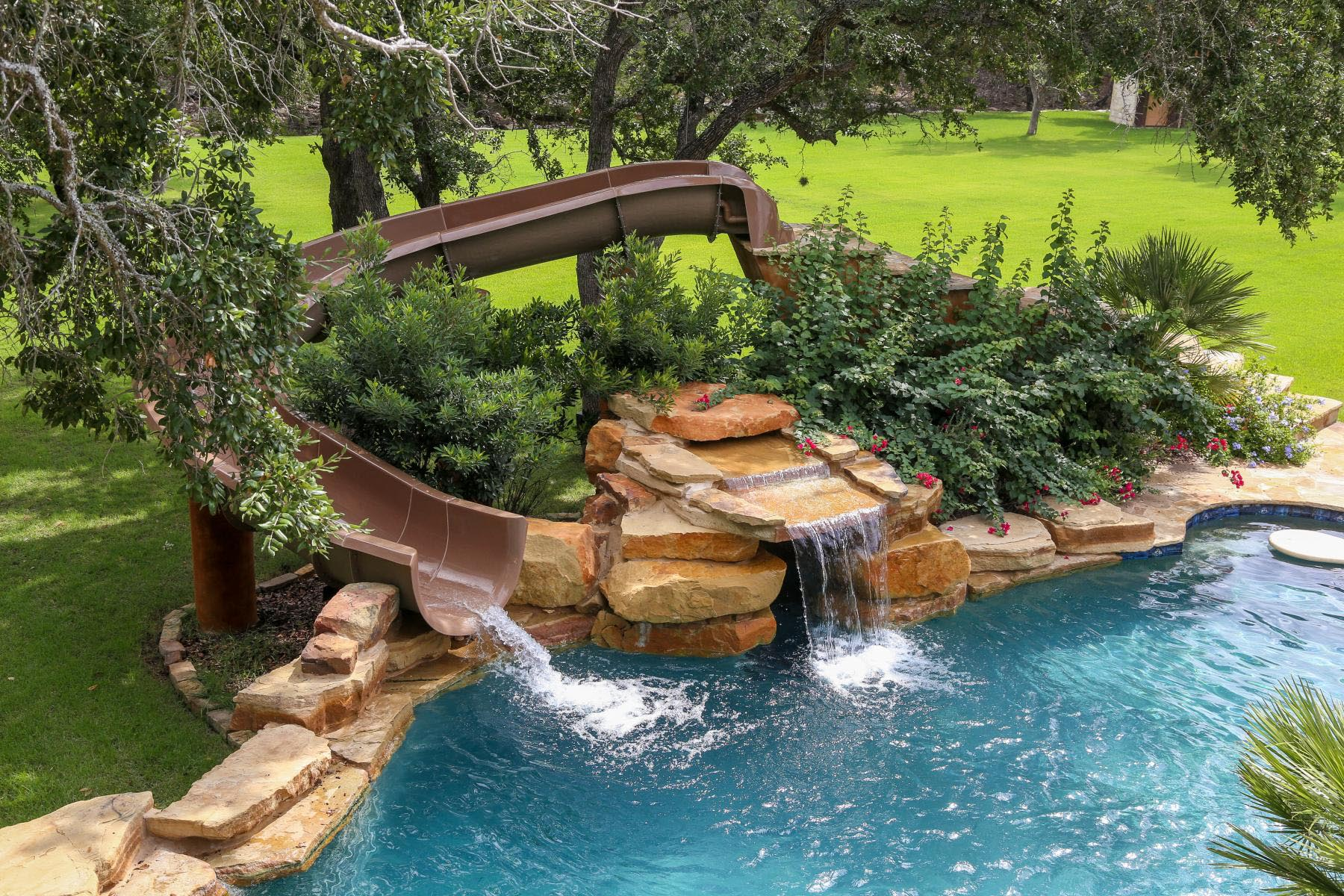 Custom backyard pool slides backyard design ideas for Pool design with slide