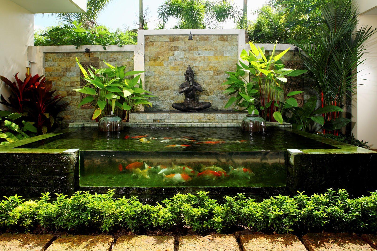 Building garden pond fountains backyard design ideas Pond with fountain