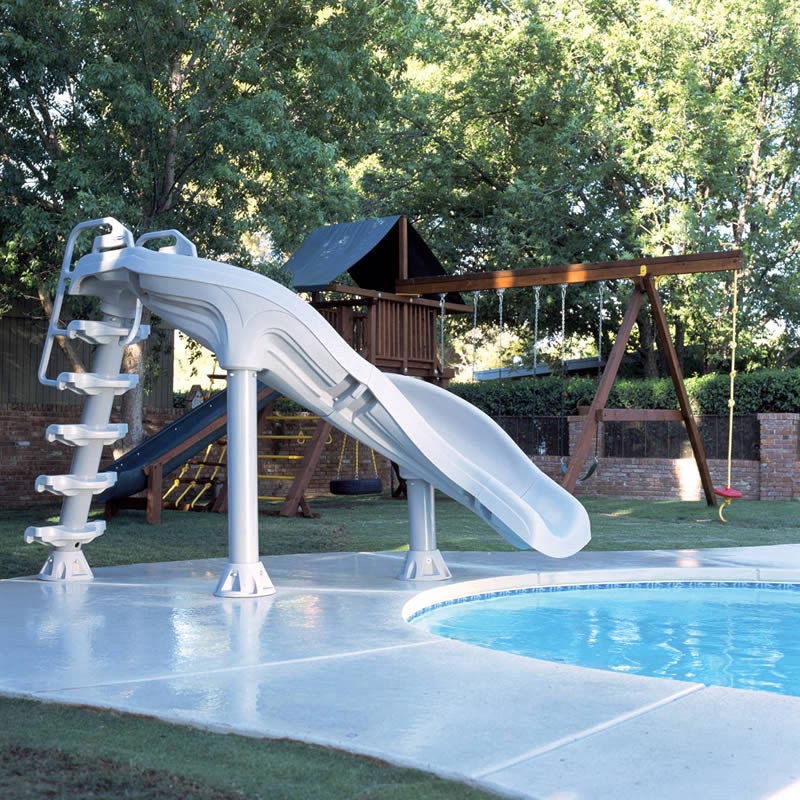 Home swimming pools with slides backyard design ideas for Pool design with slide