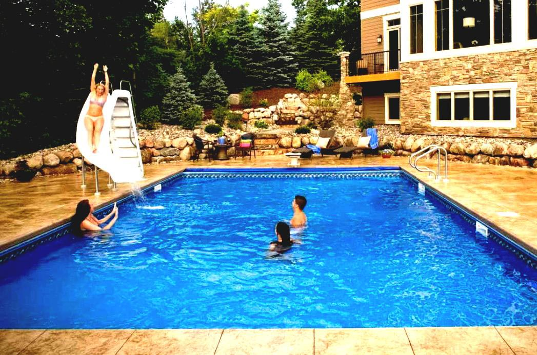 Home water slide for pool backyard design ideas for Pool design with slide