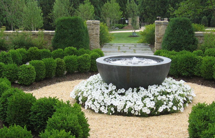 Landscape With Water Fountain Ideas Backyard Design Ideas