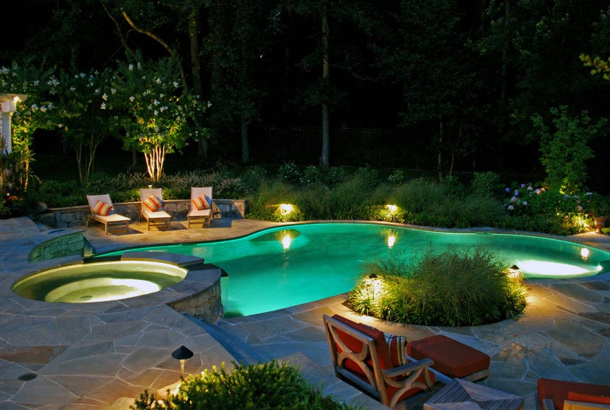 Outdoor luxury pool designs backyard design ideas for Luxury outdoor lighting