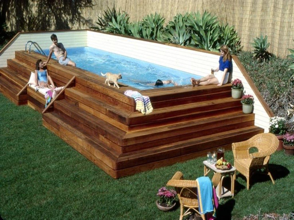 Portable Lap Pools Above Ground Backyard Design Ideas