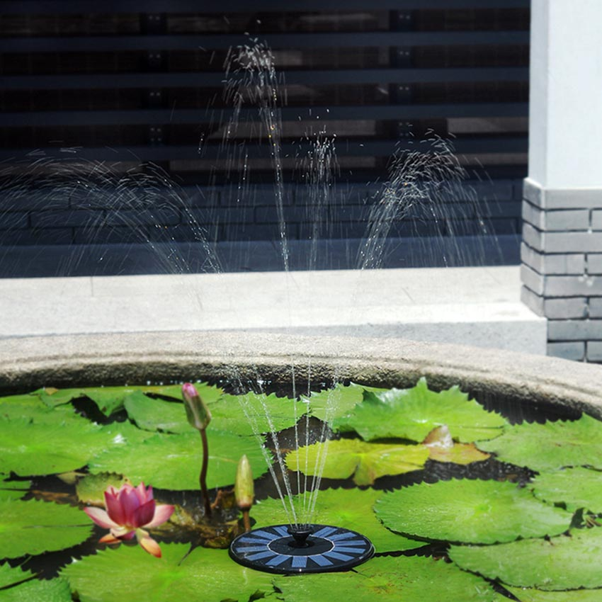 Solar water pump garden fountain pond feature backyard for Pond features and fountains