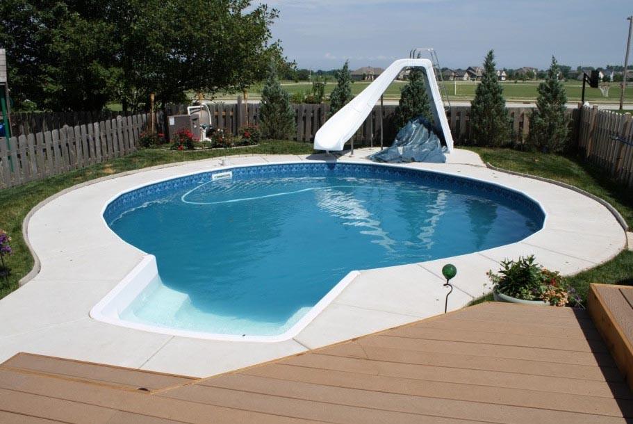 Water slide backyard pool backyard design ideas for Garden pool with slide