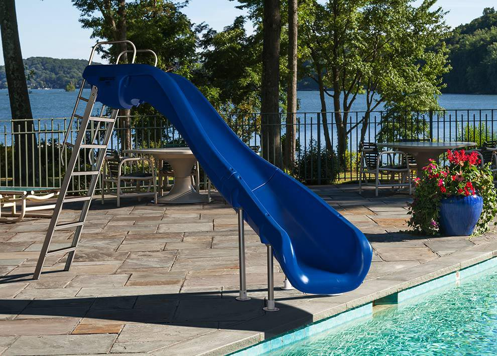 Water slide for backyard pool backyard design ideas for Swimming pool water slide parts