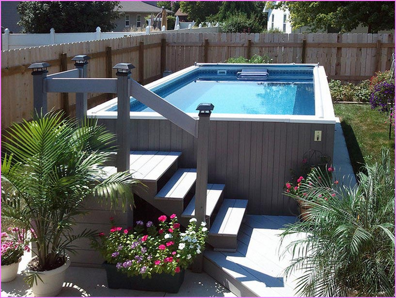 Above ground pool ideas for small backyard backyard Above ground pool patio ideas