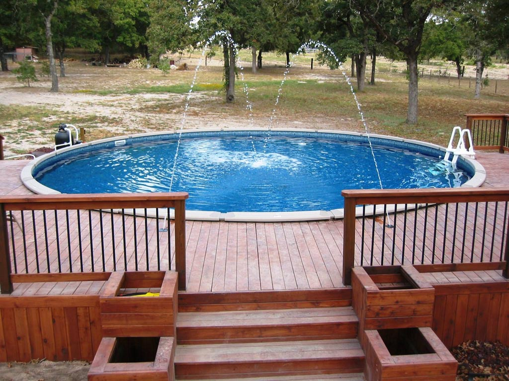 Above Ground Pool Waterfall Backyard Design Ideas