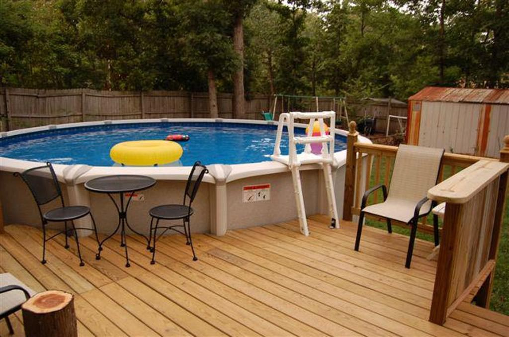 Above ground swimming pool deck designs backyard design for Deck from house to above ground pool
