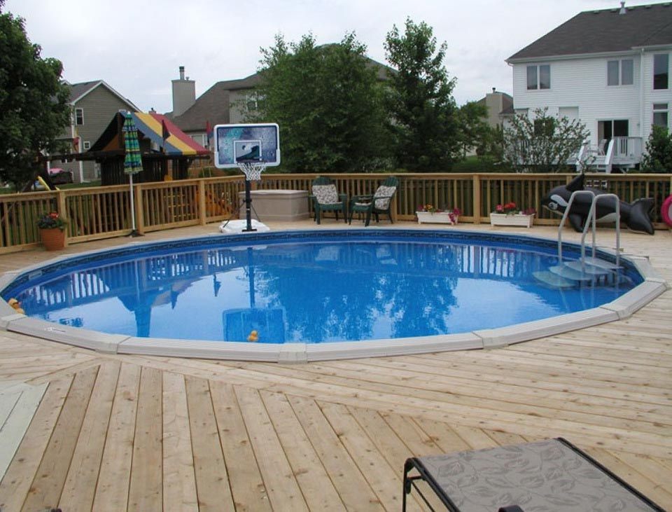 Above Ground Swimming Pool Decks Plans Backyard Design Ideas