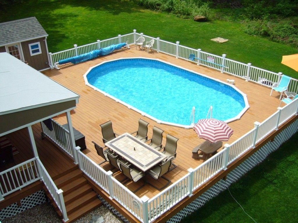 Above Ground Swimming Pools With Decks And Fences Backyard Design Ideas