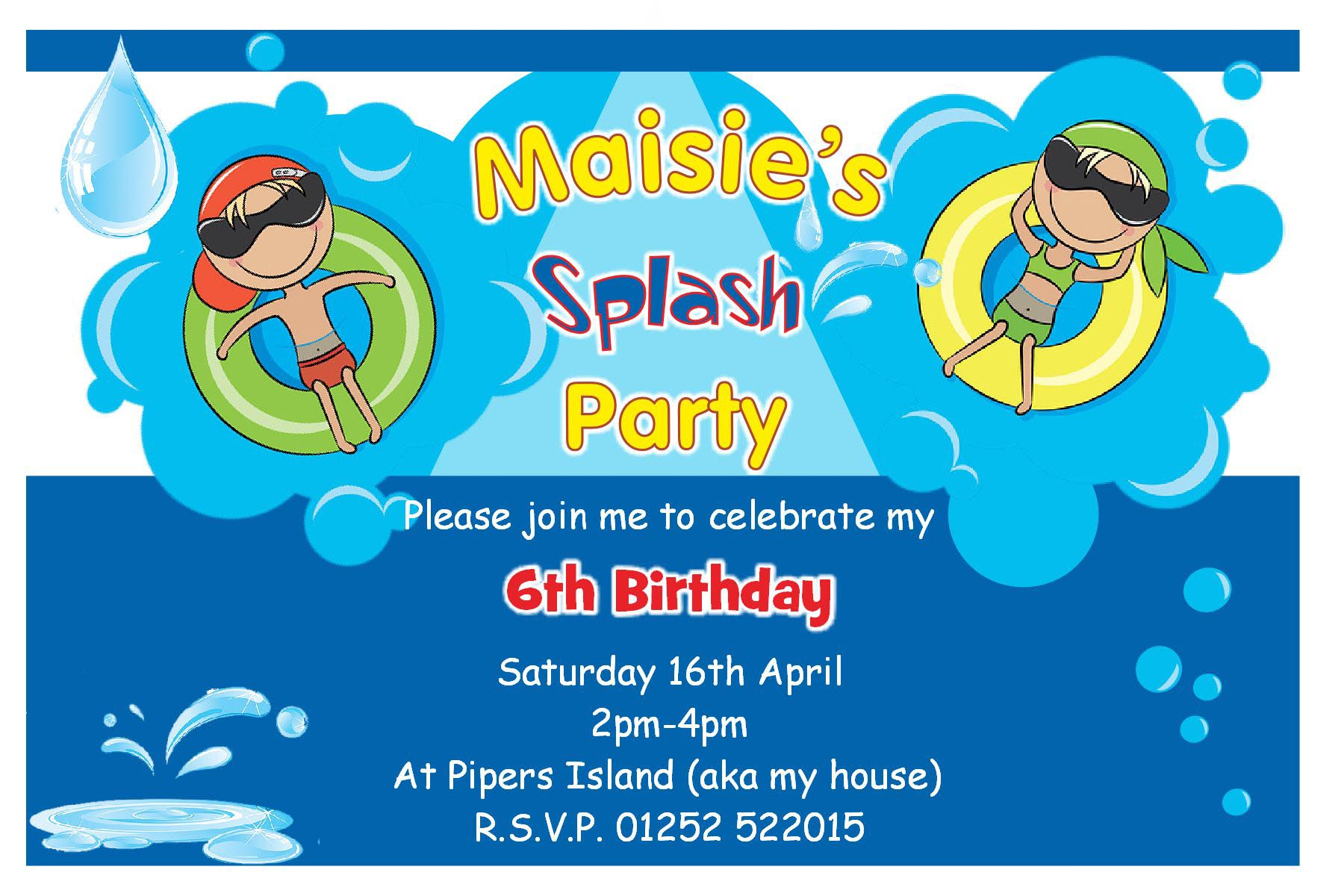 Birthday Pool Party Invitations