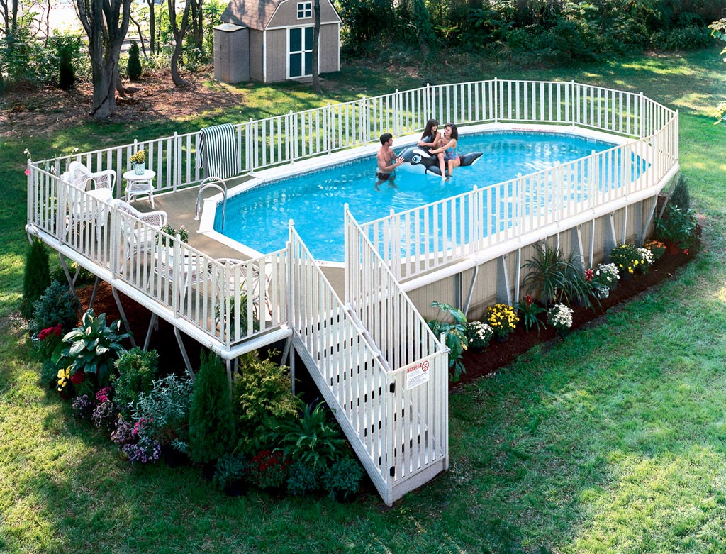 Free deck plans above ground swimming pools backyard for Above ground pool decks photos