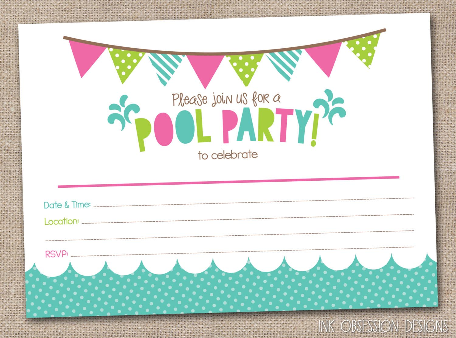 Free Printable Pool Party Birthday Invitations