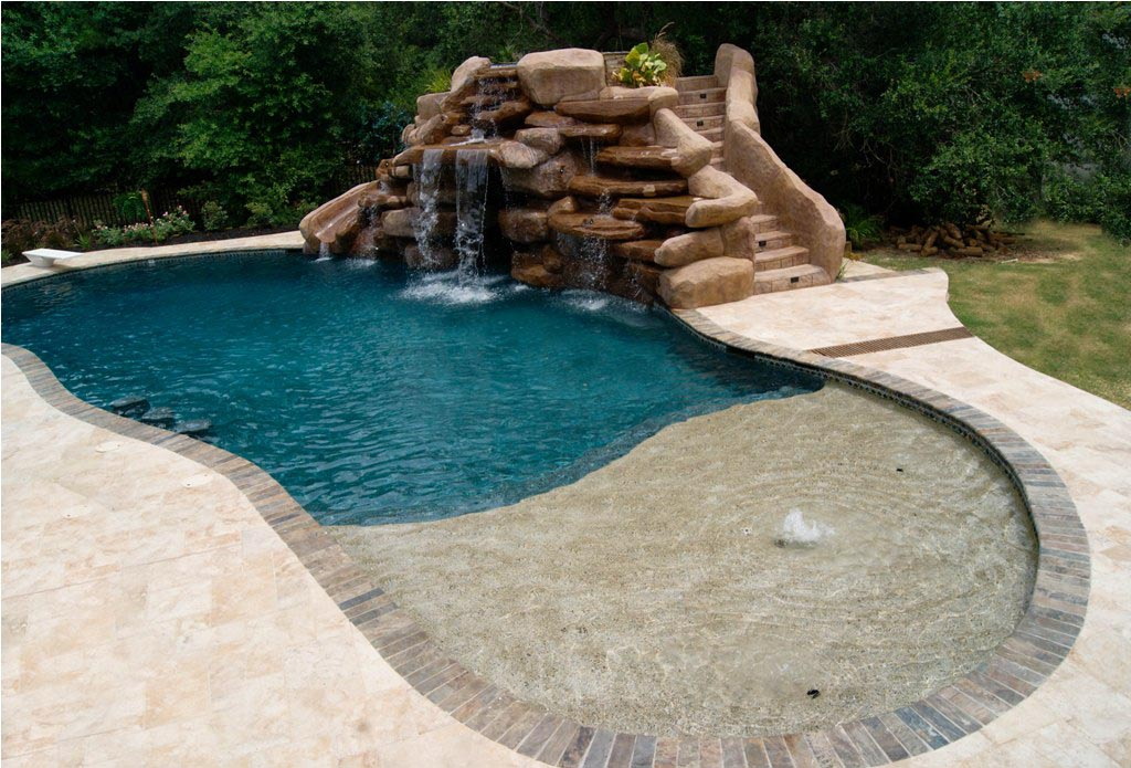 Inground pool waterfall kits backyard design ideas for Pictures of inground pools