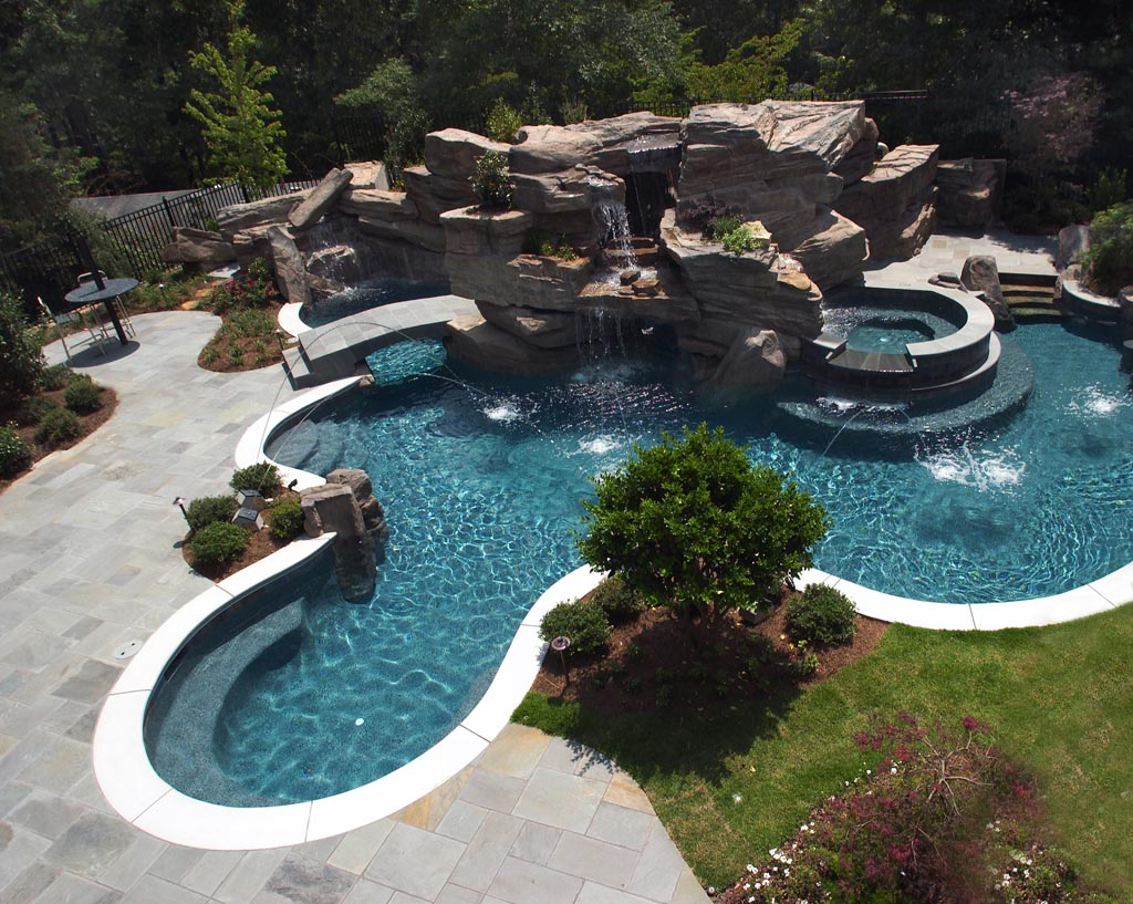 Inground pools with waterfalls backyard design ideas for In ground pool backyard ideas