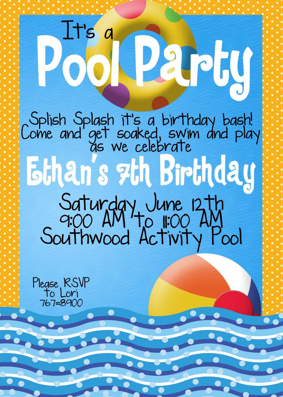 Multicolored Chalkboard Beach Ball Pool Party Invitations Kids
