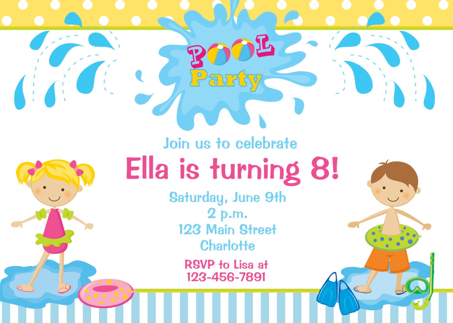 Kid Pool Party Invitations