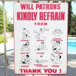 No Petting Swimming Pool Sign