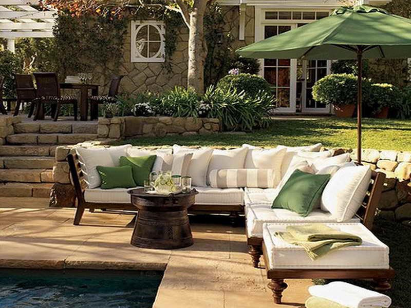 Outdoor patio and pool furniture backyard design ideas for Pool and patio furniture