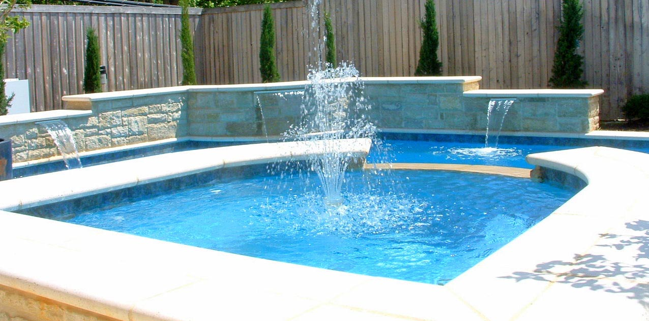 Pool fountains and waterfalls backyard design ideas for Pool decor design