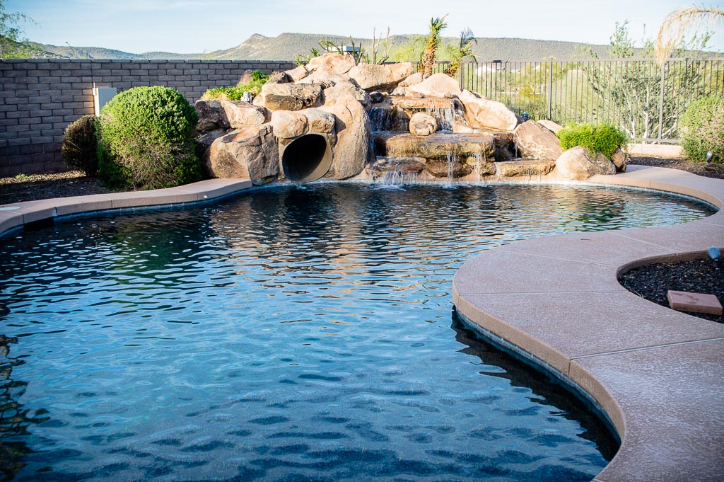 Pool with slide and waterfall backyard design ideas for Pool design with slide